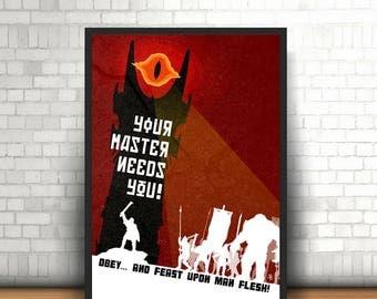 """Original Lord of the Rings Art, """"Man Flesh"""" - Poster Print"""