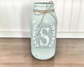 mason jar decor, mason jar centerpiece, mason jar vase, painted mson jar, floral centerpiece, XL size mason jar, farmhouse decor
