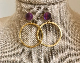 Cabochon Amethyst Gold Post Earrings With  Brush Gold Circle Drop