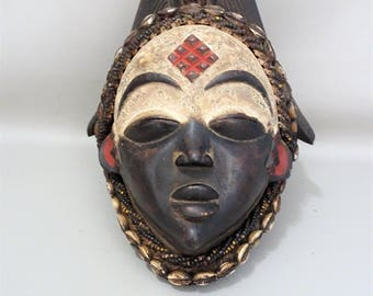 African female Okuyi tribal mask-MUKUYI-PUNU-Gabon-tribal art tribal art Africa-ancestor mask-gift for men woman