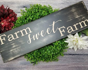Farm Sweet Farm sign | farm sweet farm wood sign, Farmhouse sign, home sweet home wood sign, wood farm sign, kitchen sign, Rustic wood sign