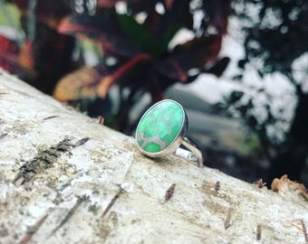 Happy Variscite Ring - Turquoise Jewelry - Sterling Silver - US size 6.25
