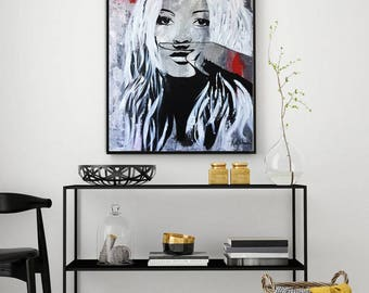 Kate MOSS Abstract Painting, Large Wall Art, Portrait Painting, ORIGINAL Abstract Palette Knife Painting, Hand Painted, Acrylic Painting