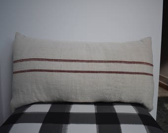 Pair of custom made down pillows made from French grain sacks/ down inserts included