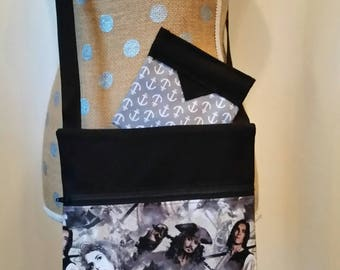 Handmade Shoulder Bag by CMarie with Pirates of the Carribean Cotton Fabric