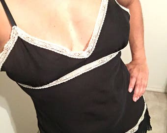 Vintage Lily of the France nightgown / teddy. Black with white lace!