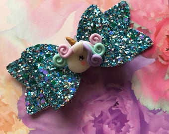 Handmade Girls Glitter Bow With Unicorn Embellishment. Gifts For Girls. Hair Accessories. Hair Bow