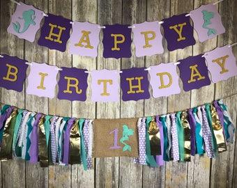 Custom Birthday Party Package ,Mermaid Birthday, First Birthday, Mermaid High Chair Banner, Mermaid Birthday Banner