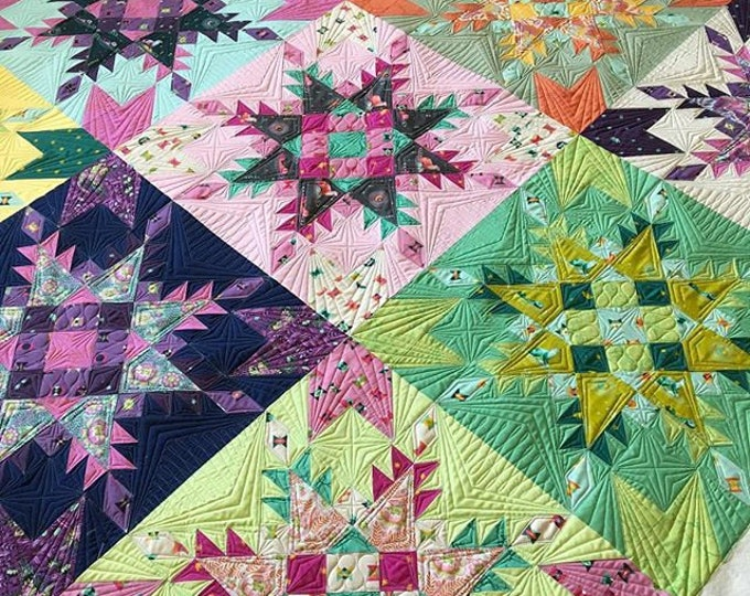 Featured listing image: NEW Feathered Stars Quilt Kit featuring Spirit Animal by Tula Pink