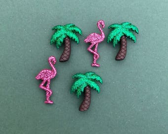 Flamingo Buttons - Dress it Up Glitter Palm Trees & Flamingo Buttons - Tropical Buttons - Palm Tree Embellishment - Glitter Pink Flamingo