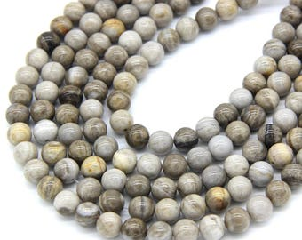 Natural Silver Leaf Jasper Beads 8mm Mala Beads Grey Gemstone Beads Cream Stone Beads Silver Leaf Jasper Bracelet Supplies Full Strand