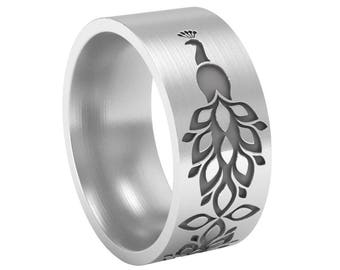 Peacock Silver Band Ring, Animal Band Ring, Peacock Ring, Peacock Jewelry, Wedding Band Ring, Bird Wedding Ring, Silver Wedding Ring