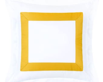 Modern Sateen White Mustard Yellow Pillow Cover with Flanges