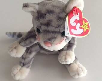 TY Beanie Baby Silver the Cat~ MWT Original Size Date of Birth February 11