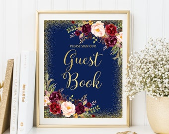 Guest Book Sign, Wedding Guest Book Sign, Please Sign Our Guest Book Sign, Navy Gold Floral Wedding Sign, Printable Wedding Sign, W122