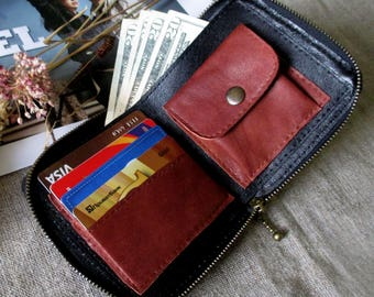 Leather men's wallet minimalist credit card wallet bifold wallet zipper around gift to man idea credit card wallet genuine leather