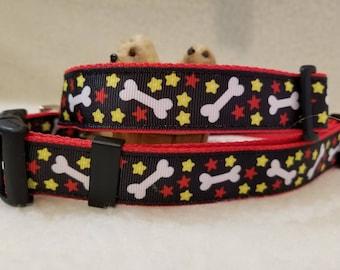 Stars and Bones Handmade Dog Collar 1 Inch Wide Large & Medium