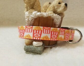 Popcorn Handmade Dog Collar 5/8 Inch Wide Medium & Small