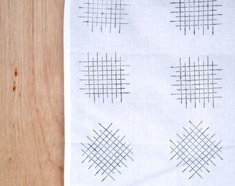 Black Grid Block cotton tea towel