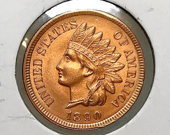 1890 Indian Head Cent - Gem BU / MS RD / Unc