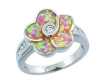 Sterling Silver Pink Opal Flower Ring CZ Accent