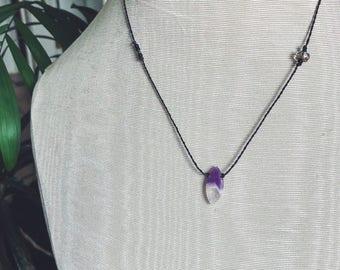 Vibrant genuine Cape Amethyst threaded necklace + smokey quartz crystal