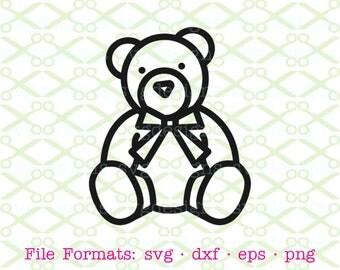 TEDDY BEAR SVG, Dxf, Eps & Png. Bear Outline Svg, Digital Cut Files for Cricut, Silhouette; Teddy Bear Outline, Kids Clipart, Silhouette Svg