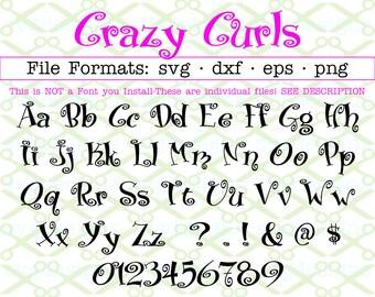Crazy Curls Monogram Svg Letters & Numbers, Svg Dxf Eps, Png.  Curly Font, Curly Letters Svg Alphabet, Curlz, Cricut Silhouette; Cut Files