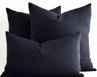 ALL SIZE - Wholesale! Navy blue pillows, Blue pillow cover, Blue Throw Pillow, Navy Blue Linen Pillow, linen Pillowcases, Linen Pillow Shams