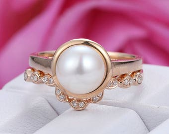 akoya pearl engagement ring set14k rose gold bridal wedding ringbirthday gift - Pearl Wedding Ring Sets