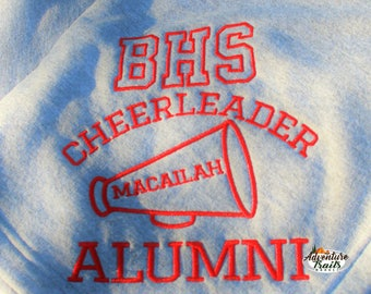 Cheer Alumni Monogram Blanket, school blanket, cheerleading, cheerleading gift, cheer gift, sweatshirt blanket, cheer leading blanket