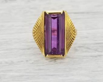 CLEARANCE Purple Synthetic Sapphire pinky ring in yellow gold