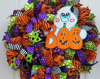 Halloween Ghost Wreath, Ghost Door Decor, Front Door Wreath, Halloween Porch Wreath, Halloween Wall Decor, Ghost Decoration , Cute Ghost