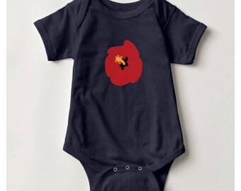 Summer Red Hibiscus Baby Bodysuit_Navy Blue