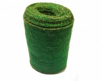 "AAYU's Burlap Green Ribbon Roll | 5"" x 5 Yards | No Fray | Colored DIY Wreath Making Materials | Natural Jute Product"