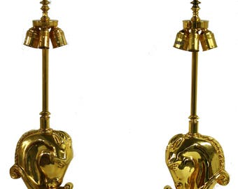 Pair of Hollywood Regency Brass Horse Head Table Lamps, 1970s Belgium - Maison Charles Lighting - Antique lamp - Pair of Vintage Lamp