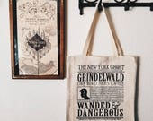 Wizard Newsprint Canvas Tote Bag