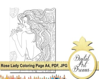 Rose Lady Coloring Page A4 Printable Pages For Adults No Stress Colouring Digital Art Dreams Complex Color PDF Instant Download