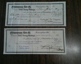 Continental Gin Co. Vintage Checks dated 1909 and 1910