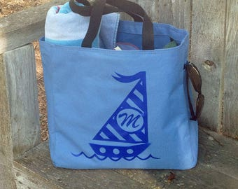 Personalized tote bag, canvas tote, bridesmaid gifts, beach tote, beach bag, sailboat tote bag