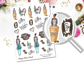 Monday Coffee Planner Stickers for Erin Condren Lifeplanner/Coffee Stickers/Fashion Planner Stickers/Happy Planner Stickers/Personal Planner