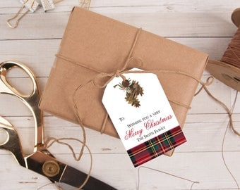 Personalized Gift Tag, Pinecones and Plaid