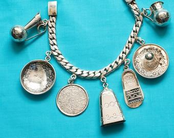 Mexican Silver Castelan Charm Bracelet
