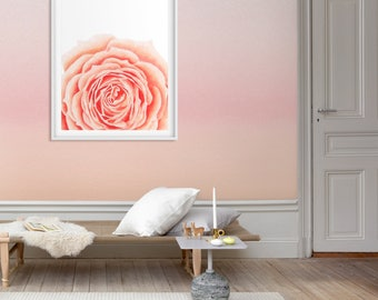 Peach rose, Peach flower painting, Rose watercolor, Abstract flower art, Floral Room Decor, Pach Rose decor, Floral wall art, Nature print