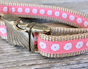 "Pretty in Pink 5/8"" Dog Collar, Salmon Pink Dog Collar, Flower Dog Collar, Floral Dog Collar"