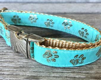 "Gold Paws 5/8"" Wide Dog Collar, Tiffany Blue Dog Collar, Slender Dog Collar, Small Dog Collar, Aluminum Buckle"