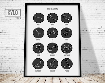 Constellation Print, Nursery Art, Constellation Poster, Zodiac Print, Zodiac Art, Kids Room Art, Print Art, Kids Illustration, Home Decor