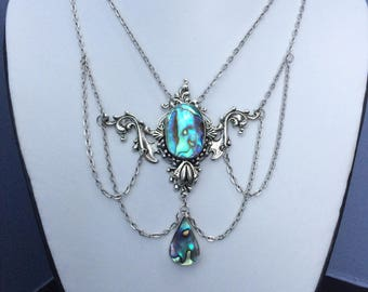 Abalone shell winged necklace