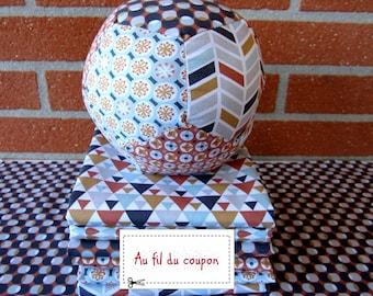 "Lot de 6 coupons de tissus oekotex patchwork 100 % coton 50 x 50 cm ""Terra/Celadon"" + TUTO OFFERT"