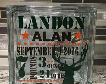 Personalized Glass Block Banks or Light Up Blocks